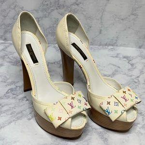 Louis Vuitton off white monogram peep toe bow heel